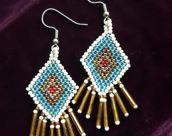 Beaded earrings- diamond shaped with bugle beads