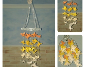 Yellow Butterfly Chandelier Mobile - baby/child/nursery/bedroom/baby shower/christening