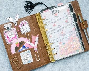 Planner Shaker Dashboard: Flamingo, shaker dashboard,  planner dashboard, glitter dashboard, shaker card, planner divider, glitter bookmark