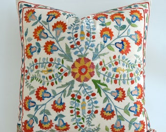 SALE - Hand Embroidered Silk Suzani Pillow Cover Decorative Pillow Vintage Uzbek Throw Pillow  Accent Pillows Suzani Pillow Bohemian Pillow