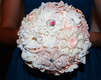 Bridesmaids bouquets, brooch bouquet, toss bouquet, fabric bouquet.  Wedding set bouquets