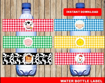 Farm water bottle labels; printable Farm Bottle labels, Farm party water bottle instant download