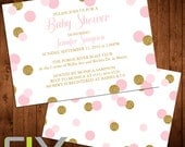 """Pink and Gold Baby Shower Invitation (Front and Back Design, Digital File Option) 5""""x7"""""""