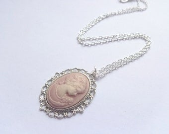 With tender pink cameo cabochon necklace