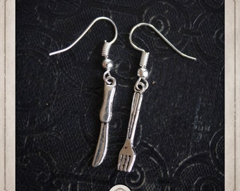 FORKS and knives spoons earrings silver MB008