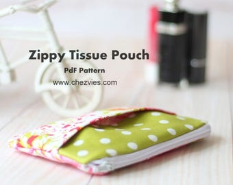 Kleenex zipper pouch pdf pattern, tissue cover, mini pouch sewing pattern, easy and quick e-pattern for beginner, instant download