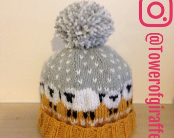 Sheep knitted bobble hat, baable hat, winter hat,