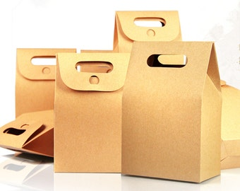 10.5*15+6cm Bottom Stand Up Bag Kraft Paper Package Box With Handle Food Coffee Party Gift Bellows Pocket 20Pcs/Lot Wholesale