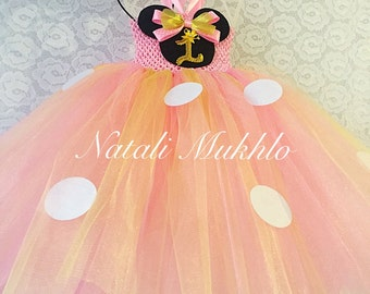 Pink and Gold Minnie Mouse 1st birthday Outfit, 1st Birthday Girl Outfit, Baby Girl Party Outfit, Pink Tutu Dress, Birthday Dress