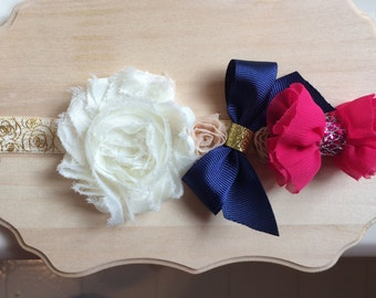 Flower Headband, Baby Headband, flower and bow headband, unique headband