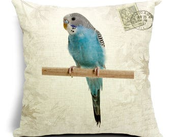 Birdie Portrait Decorative Pillow Cover - Parakeet