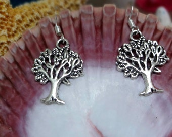 Silver Tree of Life Earrings  on .925 Sterling Silver Ear Wires, Simple Yet Meaningful, Low Price, Earthy, Environment, Greenery, Leaves