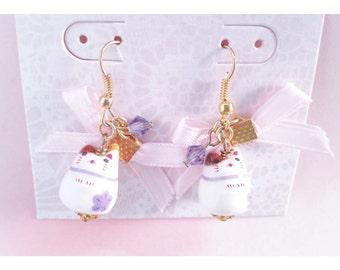 Pink Bow Kitty earrings