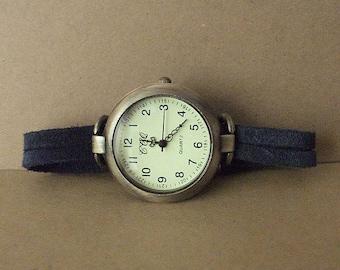 Wrap watch, women watch, men watch, watch leather strap, shark blue strap watch, retro watch, classy watch, minimalist watch by WrapWatches