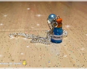 Necklace pendant vial Drink Me Alice in the country of wonders