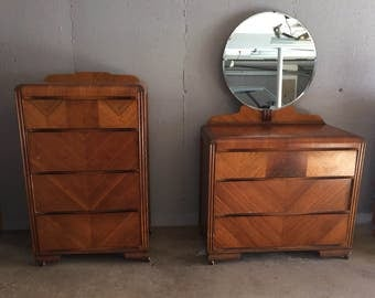 Vintage 1920's Art Deco Waterfall Bedroom Set-Four Drawer Tallboy and Three Drawer Dresser With Round Mirror
