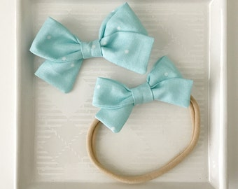 CLEARANCE: Blue Dot Classic Bow - Baby Accessories - Baby Girl Nylon Headband - Girls Fabric Bow