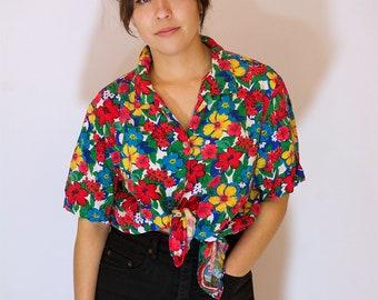 SALE - 1980s Tropical Hawaiian Flower Shirt // Vintage Hawaiian Print Top