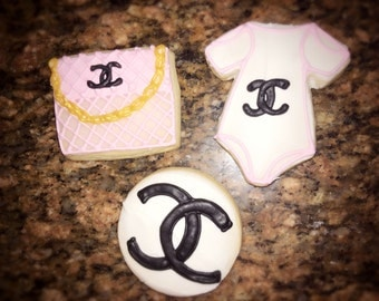 1 dozen individually wrapped CHANEL themed baby shower cookies(favor sized)