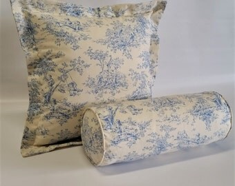 Flanged pillow cover in french blue and off white toile, 20x20, blue&off white cotton print country french invisible zipper designer fabric