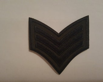 Black Sargent Chevrons Military Iron On Patch transfer