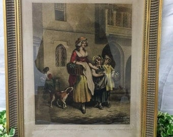 Beautiful Gold Framed Cries Of London Lithograph Plate 1 'Primrose Seller' Francis Wheatley