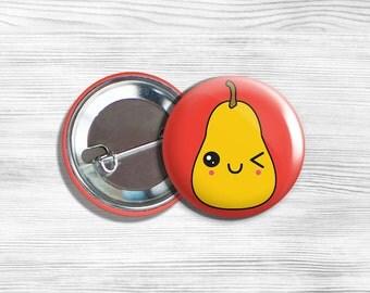 "Kawaii Pear Vegan Vegetarian Pinback Button Pin 1.75"""