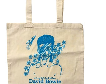 David Bowie Sugar Skull Tote Bag without a gusset printed with blue water base ink