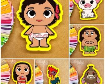 Moana Cookie Cutters - Maui - Hei Hei - Pua - Baby Moana - Kid - Coconut - Cookie Cutter - Periwinkles - Gift - Cute - Cookies - 3D Print