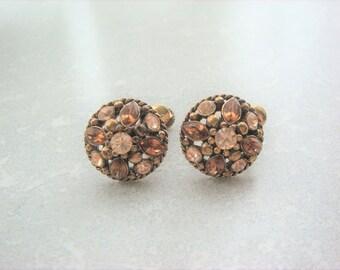 Amber Rhinestone Brass Hinged Screw Back Earrings