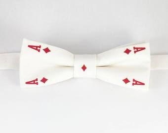 Gambler Bow tie, Mens Bowtie, Ace Bowtie, Unique Bow Ties, Poker BowTie, Cards BowTie, Bow tie Ace, Gambler gift, Poker gift, Cards gift