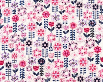 Fantasy Flowers Fabric, Pink Floral Fabric, Navy Floral Quilting Fabric, Michael Miller Pink Fabric, Fabric Remnant, Nursery Fabric Girl