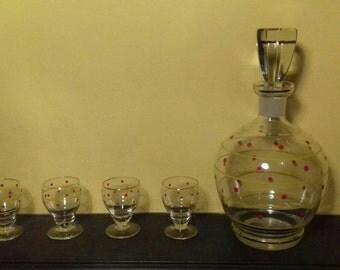 Vintage Polka Dot Decanter and Glasses