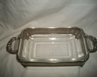 "Vintage Mid Century Anchor Hocking Fire King One Quart Footed Casserole 9.5"" X 6"""