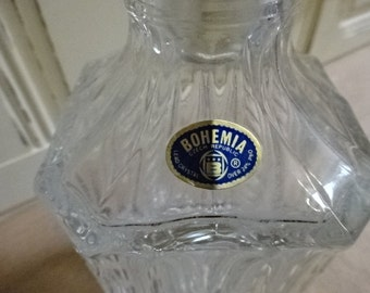 Bohemia Crystal Square Decanter/Genuine Elegant Lead Crystal 24%/Whiskey/Brandy/Vintage