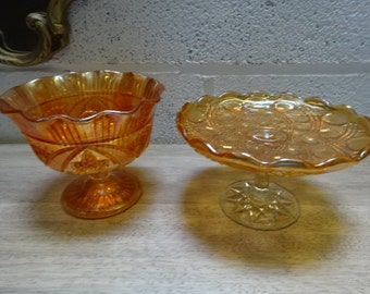 2 Beautiful Pieces of Carnival Orange/Marigold/ Glass /Vintage