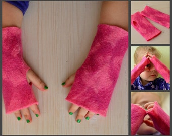felted toddler/adult arm warmers kids wrist warmers fingerless gloves rose  warm childrens mittens