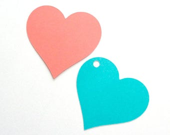 Cardstock Heart Shaped Gift Tags for Wedding Favors Blank Large Paper Hearts Choose Color and Style Set of 24