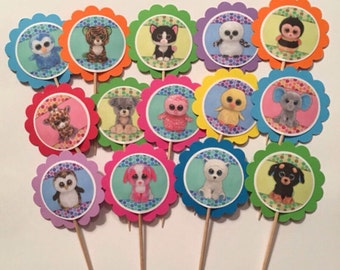 Beanie Boo cupcake toppers or party tags, 12 Beanie Boo birthday decor, Beanie Boo party decorations