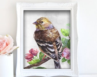 Bird Painting - Bird Artwork, Printable Bird Art, Bird Home Decor, Bird Art Poster, Digital Bird Art, Nature Art Print, 3D Bird Art