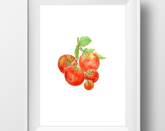 Tomato Artwork, Tomato Watercolor, Tomato Painting, Kitchen Wall art, Tomato Print, Farm Art, Veggie Artwork, Vegetable Art