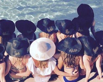 10 Custom Floppy Hats, Bachelorette Party Floppy Hat, Floppy Hat, Personalized Floppy Hat, Women's Floppy Hat, Summer Hat, Black Floppy Hat