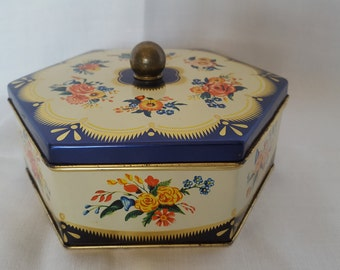 Vintage Hexagonal Blue/Cream/Gold Floral Print Cookie/Candy Tin Made in West Germany