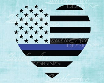 Thin Blue Line American Flag Heart, Back the Blue, Blue Lives Matter, 4th of July, Silhouette or Cricut File, Vinyl Cut File, .dxf .png .eps