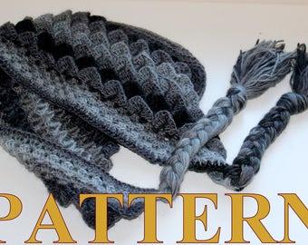 PATTERN crochet DRAGON SCALE hat Crocodile Stitch Hat or Hoodie