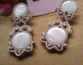 Soutache and mother-of-pearl earrings