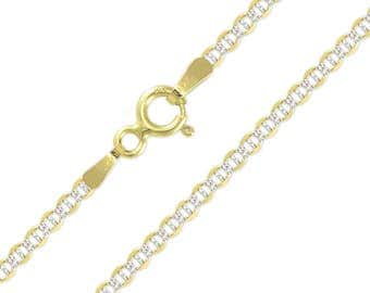"""10K Solid Yellow Gold White Pave Mariner Necklace Chain 2.5mm 16-24"""" - Diamond Cut Anchor Link"""