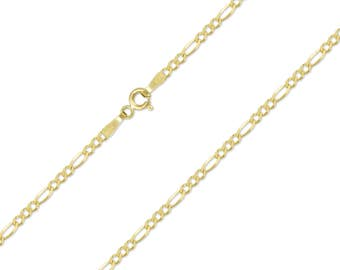 """14K Solid Yellow Gold Figaro Necklace Chain 1.5mm 16-24"""" - Polished Link"""