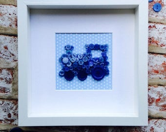 Blue Button Art Train Frame