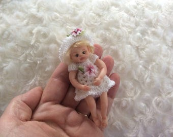 OOAK Polymer Clay Posable Baby Girl Doll - Handmade by Sue Radford